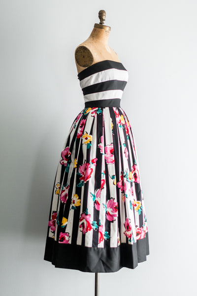 1980s Saks 5th Ave Striped Floral Tea-Length Dress - XS