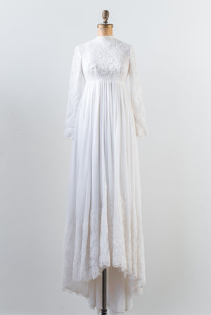1970s Chiffon and Lace Gown - XS