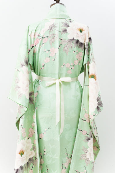 RARE Vintage Mint Green Silk Kimono with White Peonies - One Size