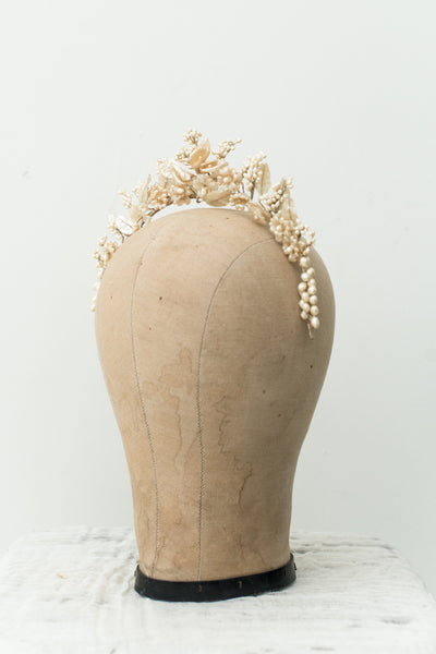 1920s Wax Tiara/Crown with Calla Lilies - One Size
