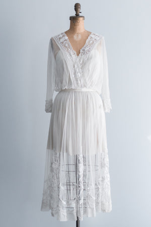 Edwardian Embroidered Lace Dress - S/M