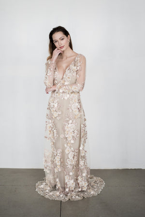 GOSSAMER Ivory Embroidered Dress - Custom
