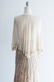Ivory Silk Chiffon Gold Beaded Gown - (S) 4/6