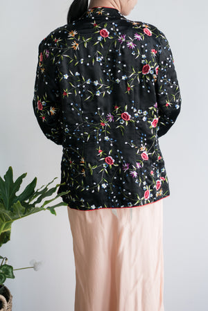 Vintage Satin Short Embroidered Jacket - M