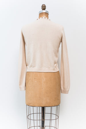 1950s Beige with Copper and Gold Beaded Arcylic Cardigan - S/M