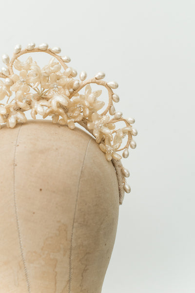 1950s Wax Scalloped Tiara  - One Size