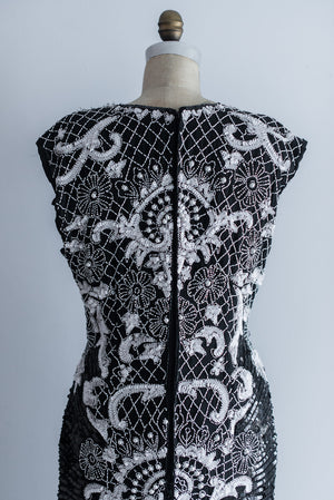 1980s Black and White Silk Beaded Dress - M/L