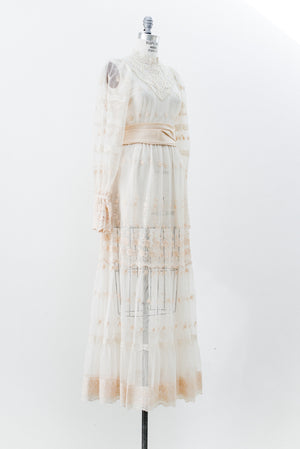 1970s Sheer Embroidered Lace Gown - S/M