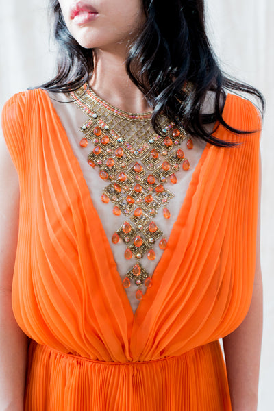 1960s Orange Sherbet Jack Bryan Necklace Chiffon Dress - M
