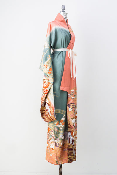 Vintage Peach and Mint Green Silk Kimono - One Size