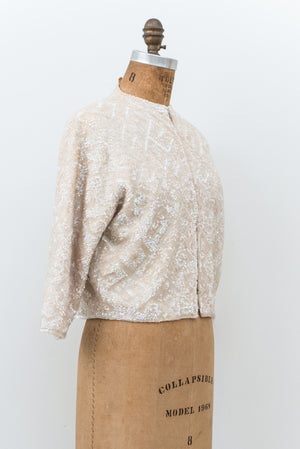 1950s Sequined Wool Cardigan - S/M