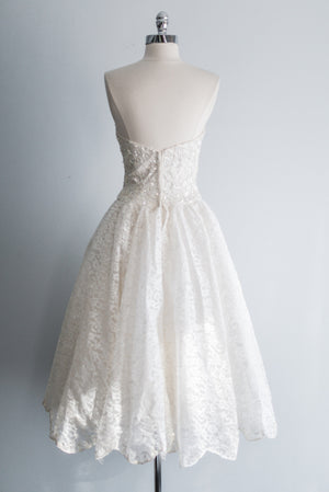 1950s Sequined Bodice Tea-Length Dress - XS/S