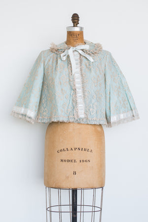 1950s Ecru Lace and Acetate Blue Jacket - S/M