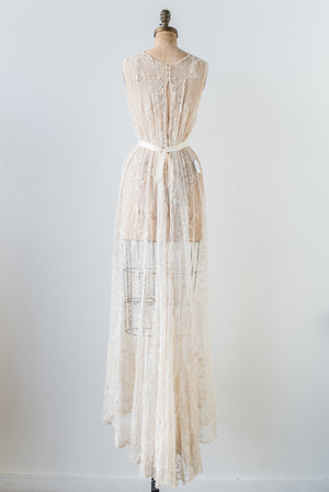 Ivory Antique Silk Lace Gown - S/M