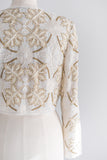 1980s Cropped Silk Oak Leaves Beaded Jacket - S/M