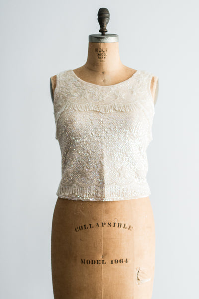 1960s Wool Top with Ivory Sequins and Beads - M