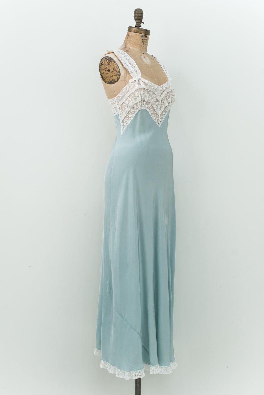 1930s Blue Satin and Lace Slip - XS