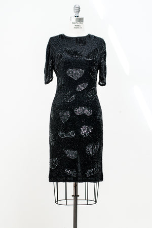 1980s Black Silk Chiffon Beaded Dress - S