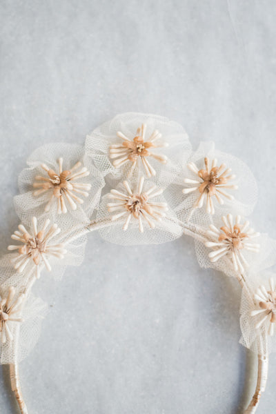Antique Wax and Silk Tulle Crown