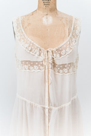 1920s Silk Dropped Waist Night Dress - M/L
