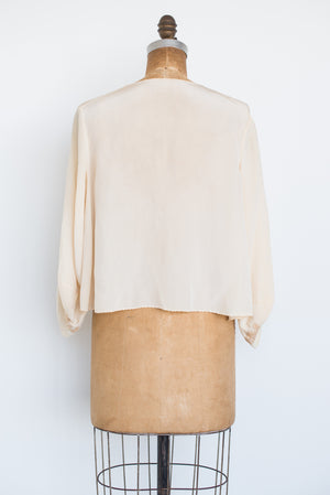 1930s Silk Crepe and Lace Inset Top - S/M
