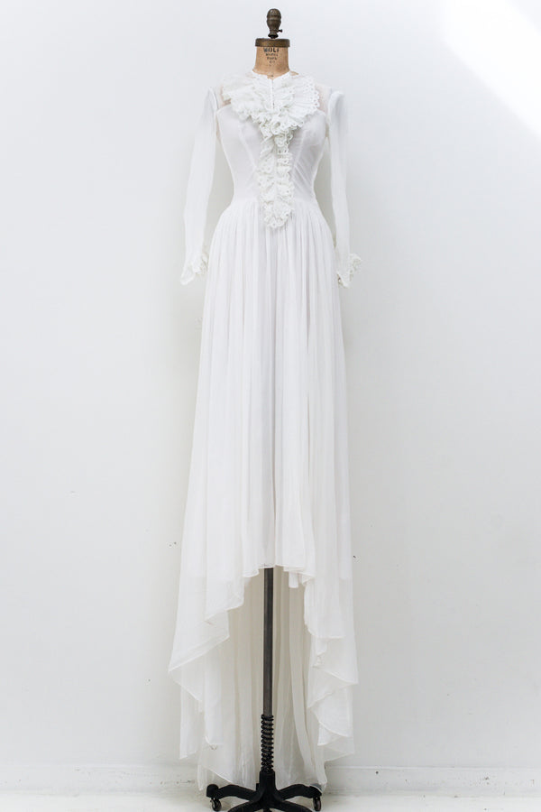 1940s Chiffon Ruffled Wedding Gown - XS