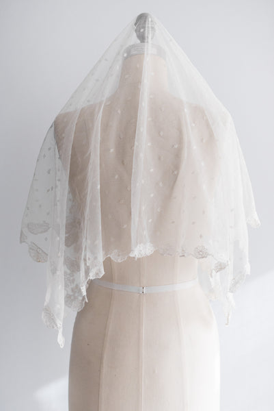 Antique Carrickmacross Lace Veil/Mantilla