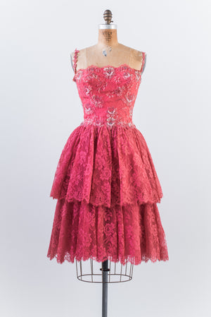 1950s Deep Pink Beaded Silk Lace Dress - S