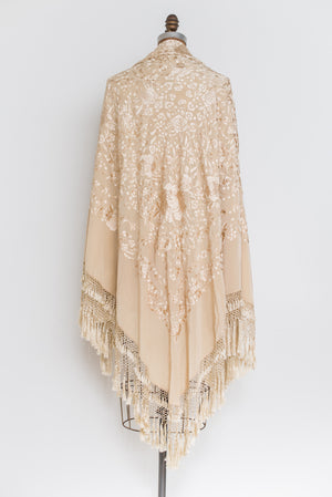 1920s Silk Embroidered Shawl