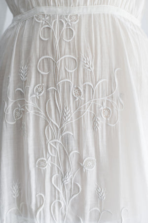 Edwardian Cotton Muslin Embroidered Dress - M/L