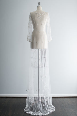 Scalloped Beaded Trained Dressing Robe - S/M