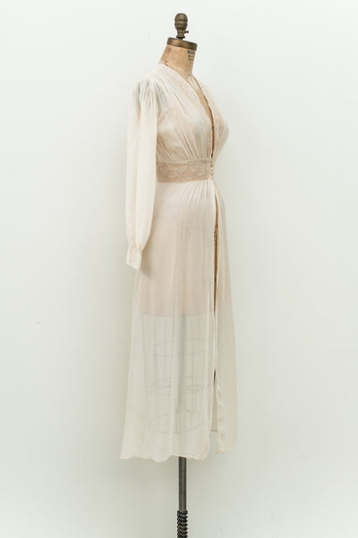 1930s Chiffon and Lace Dressing Gown - XS S ... 700ccec3a