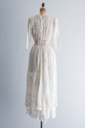 Edwardian Silk Muslin Whitework Dress - S