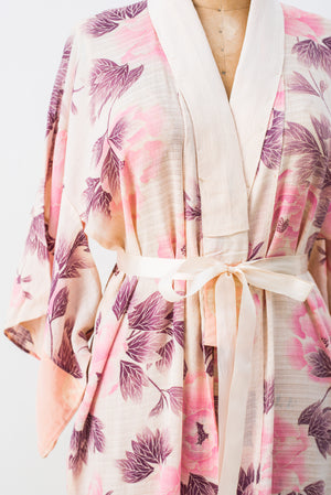 Antique Textured Silk Floral Kimono - One Size