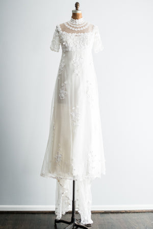 1960s Silk Organza Floral Applique Mod Wedding Gown - S/M
