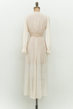 1930s Chiffon and Lace Dressing Gown - XS/S