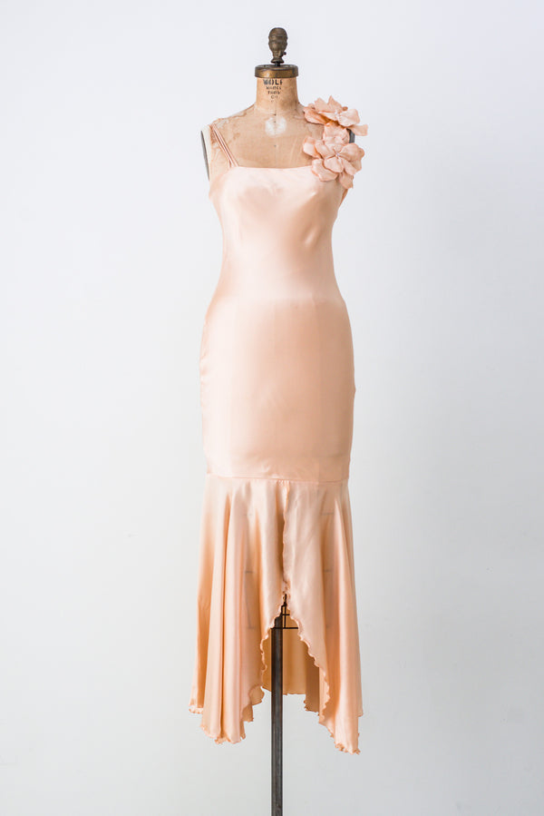 1980s Peach Silk Satin Slip  Dress - XS