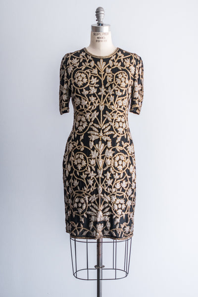 1980s Beaded Baroque Design Dress - M