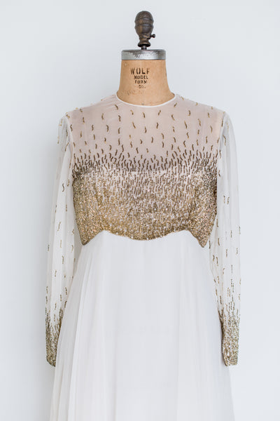 1960s Ivory and Gold Beaded Gown - M