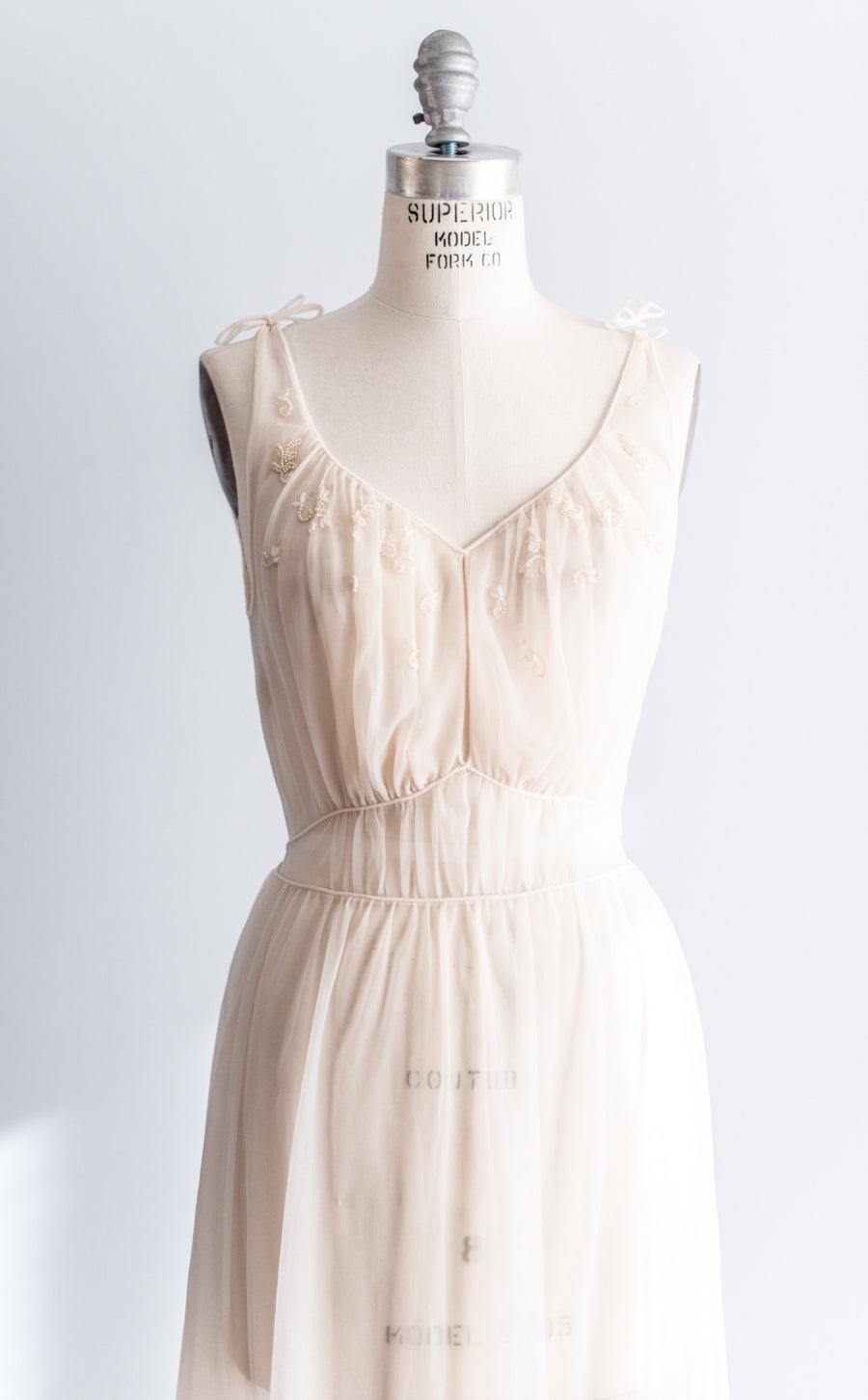 1940s Nude Sheer Double Nylon Nightgown - S-L