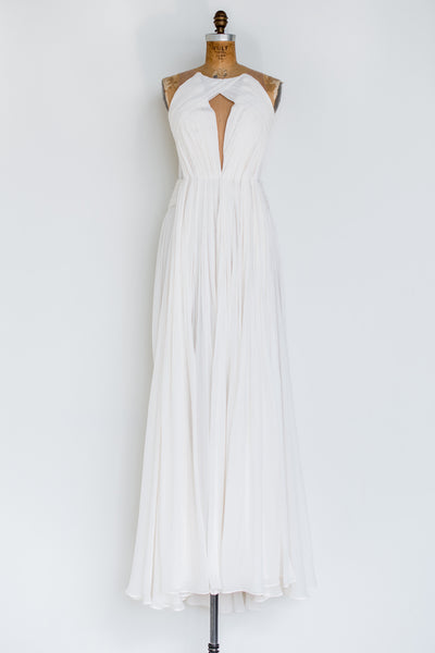 RENTAL Ivory Silk Chiffon Pleated Gown - S