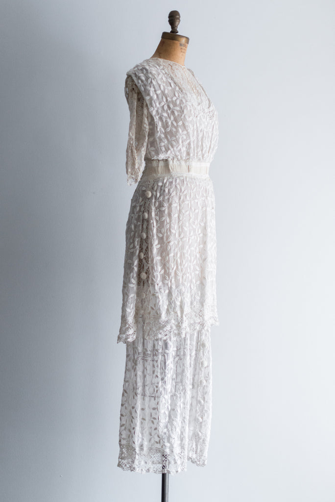 Rare Edwardian Silk Tambour Lace Wedding Dress - XS ...