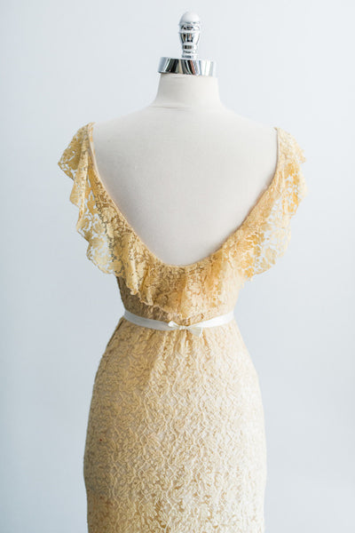 [SOLD] 1930s Light Yellow/Cream Lace Dress - XS