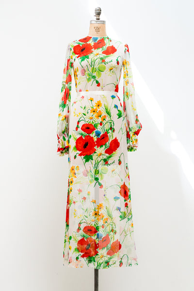 1970s Poet Sleeves Silk Chiffon Poppy Gown - S/M