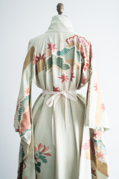 1940s Silk Crepe Mint Colored Floral Kimono - One Size
