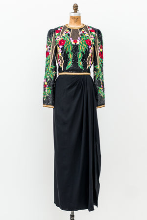1980s Saks 5th Ave Embroidered Draped Rayon Gown - S/M