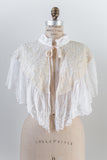 1960s Ivory and Embroidered Lace Capelet - One Size
