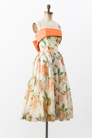 1950s Strapless Chiffon Floral Dress - XS/S
