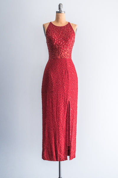 1980s Cherry Red Sheer Midriff Gown - XS/S