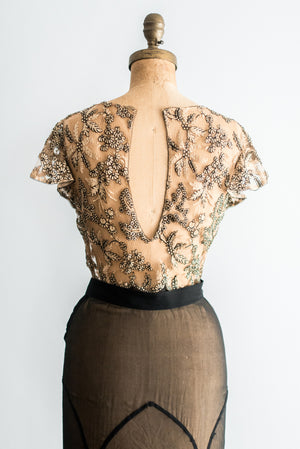 1930s Silk Chiffon and Lace Gown - XS/S